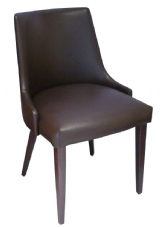 Moscow Wooden Side Chair with Upholstered Seat and Back in Dark Walnut